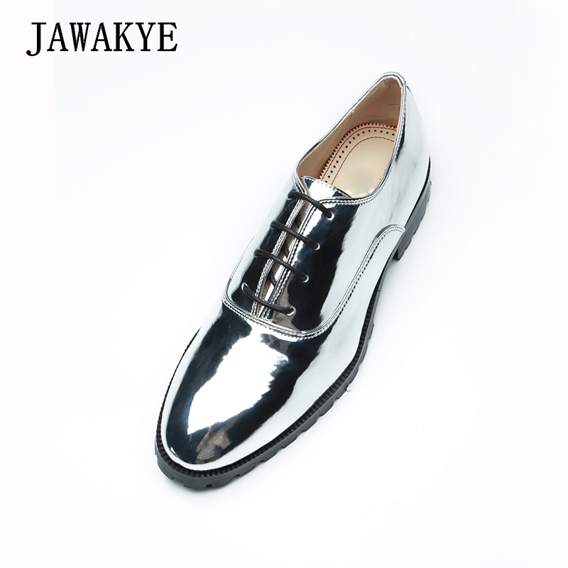 JAWAKYE Round toe Men Dress Shoes leather Flat heel Lace up Solid Silver Mirror PU leather Formal Groom Wedding Shoes Men