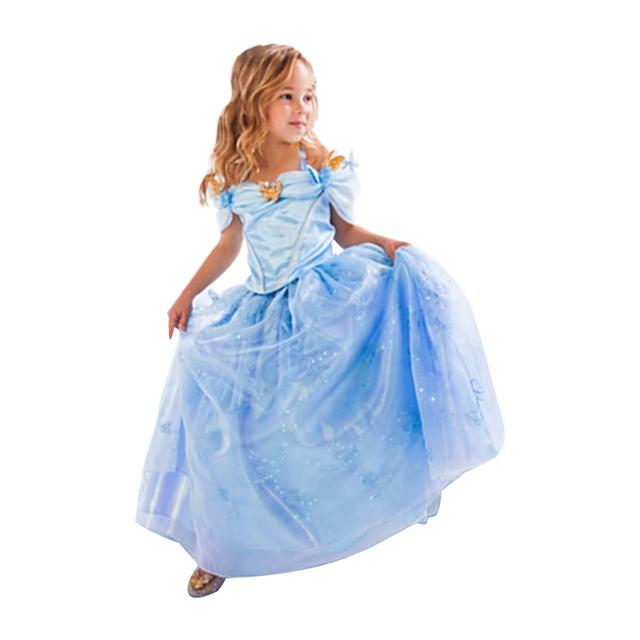 2017 Nueva Cenicienta Princesa Niñas Vestidos Movie cosplay Muchacha de Los Cabritos ropa de bebé Vestido por encargo del vestido de lujo ropa de los niños