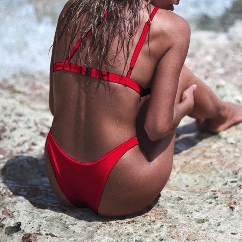 HTB1or4daInrK1RjSspkq6yuvXXaI In-X One shoulder bikini 2019 Buckle high cut swimsuit Sexy thong bikini Hollow out bathing suit White push up swimwear women