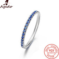 Dazzling Embed Spinel Round Shaped Stackable Real 925 Sterling Silver Charm Wedding Fine Jewelry Rings For