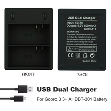 go pro Hero 3 3+ AHDBT-301 302 battery USB Dual Charger Charging for Gopro Hero 3 3+ Action Camera Battery Accessories цена 2017