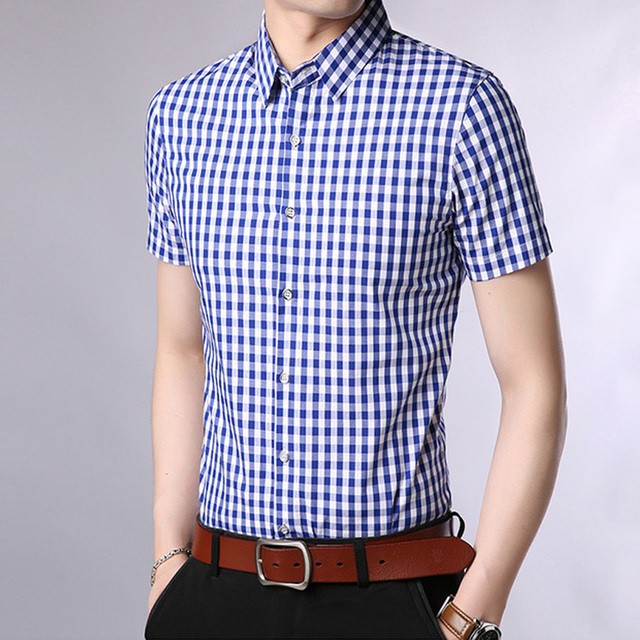 7d0734cf8c5 2018-new-summer-Plaid-Shirt -Men-Male-casual-Fashion-Chemise-Homme-Mens-Checkered-Shirts -Short-Sleeve.jpg_640x640.jpg