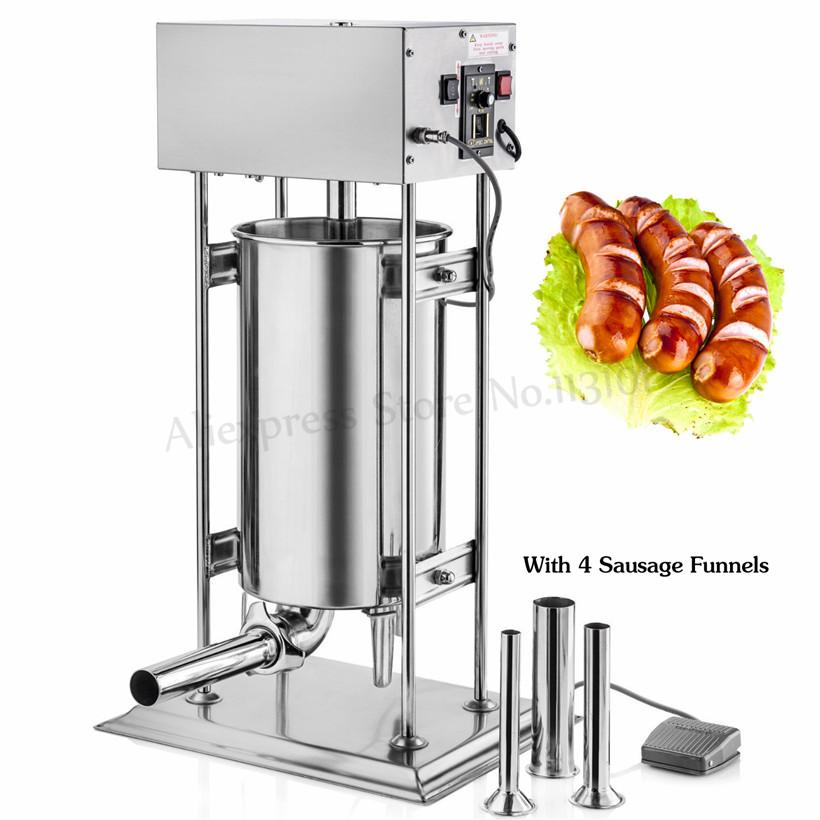 10L Electric Sausage Stuffer Vertical Stainless Steel Sausage Maker Automatic Churro Extruding Machine Spanish Churros Maker