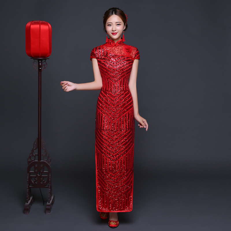 ⑥China Dress Traditional Red Sequined Bride Wedding Cheongsam Long ...