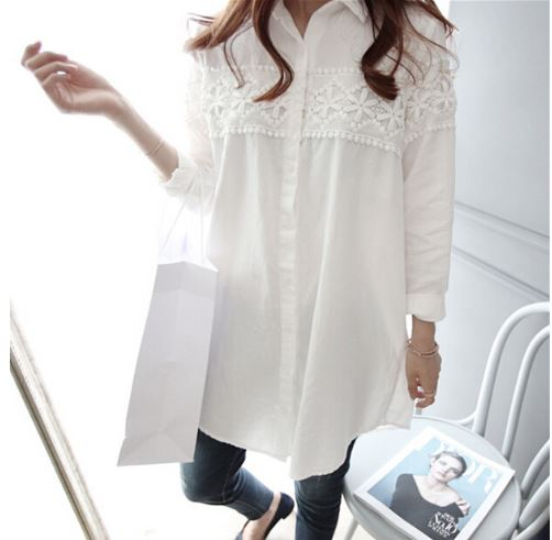 Lace Patch-worked Maternity Shirts Long Sleeve Loose Blouses