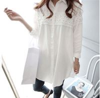 Lace Patch-worked Maternity Shirts Long Sleeve Loose Blouses Tops Clothes for Pregnant Women Spring Autumn Pregnancy Clothing