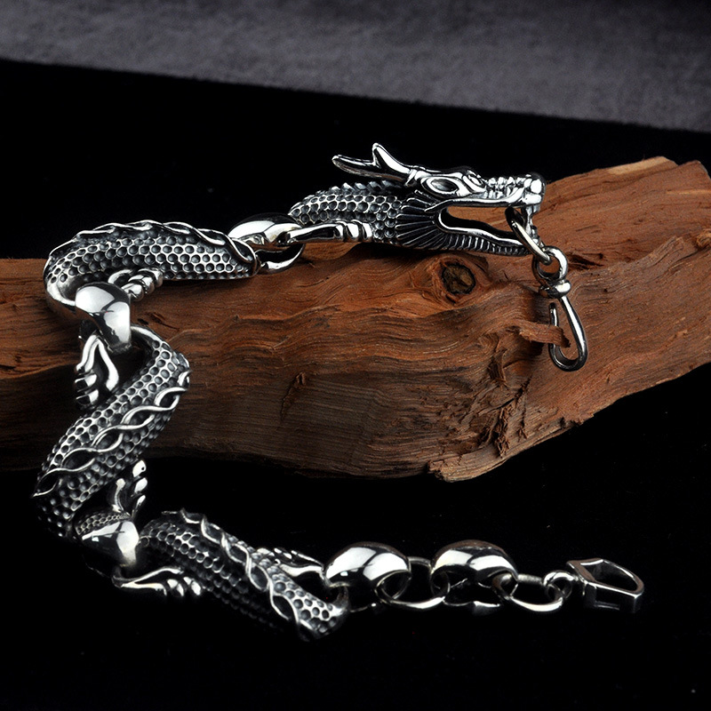 Real 925 Sterling Silver Dragon Bracelets for Men Punk Rock Vintage Heavy Thai Silver Bracelet Male Luxury Jewelry Birthday Gift 925 sterling silver thai vintage pendant thai retro men male jewelry chian dragon bracelet ch059082