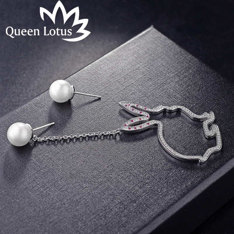Queen Lotus 2017 women Jewelery Fashion rabbit pearl lady earrings long temperament micro-studded zircon girl earring gift party