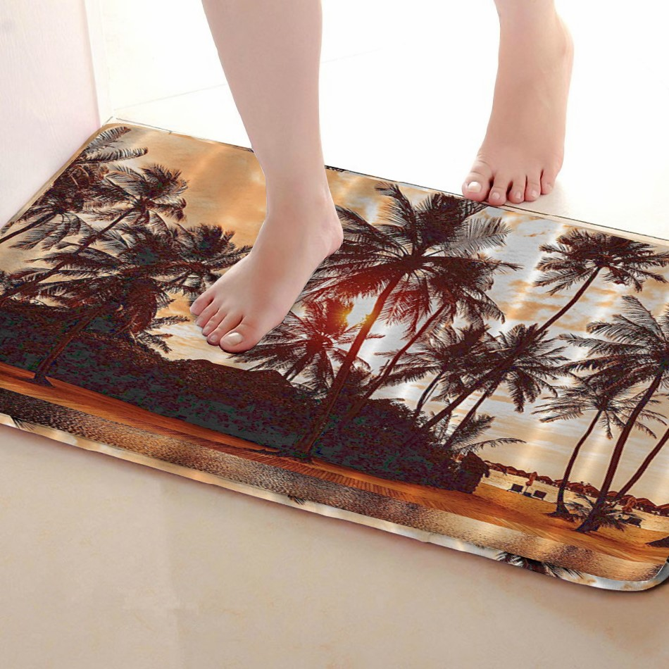 Coconut tree Style Bathroom Mat,Funny Anti skid Bath Mat,Shower Curtains Accessories,Matching Your Shower Curtain