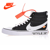 Original Nike OFF WHITE X Old Skool Collection OW Women's Black and White New Arrival Authentic Skateboarding Shoes for Women