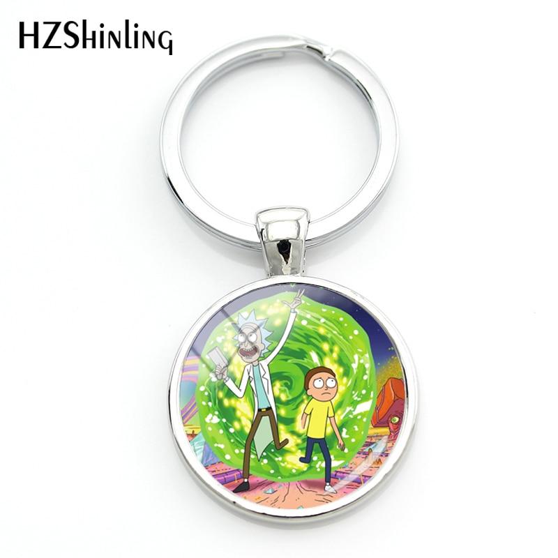 2018 Fashion Silver Metal Keyring Rick And Morty Keychain Cartoon Jewelry Glass Photo Keychains Handmade Key Chains