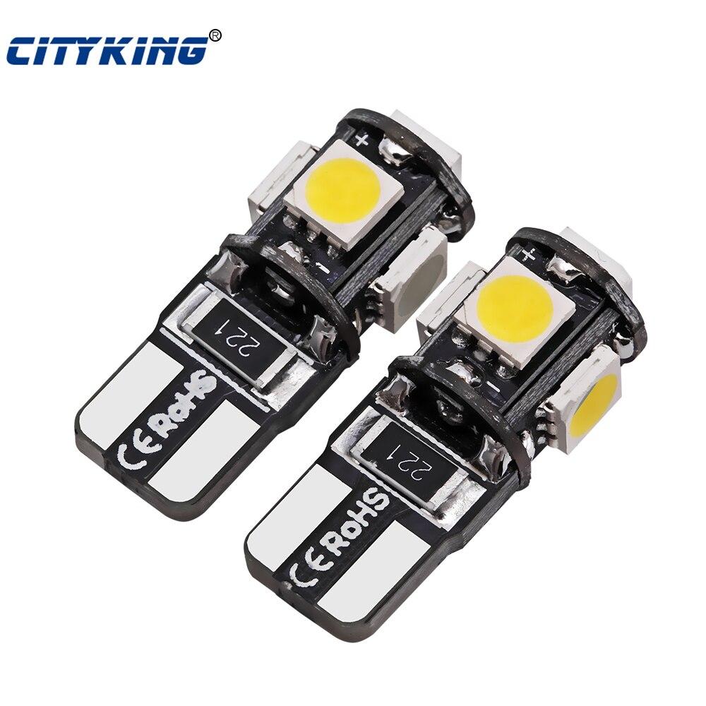 10pcs/Lot Car T10 5smd 5050 LED Canbus Light W5W Led Canbus 194 T10 5led SMD Error Free White Light Car Styling