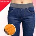 6 EXTRA GRANDES calças de Brim Das Mulheres Calças de Cintura Alta das calças de Brim Quentes de Inverno Engrosse Polares Calças Lápis de Cintura Elástica Calças Jeans Da Moda