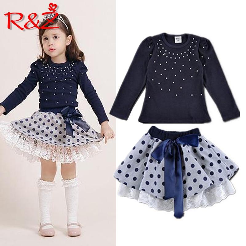 Girls' suits 2017 New arrival Autumn girls T-shirt + skirt 2pcs clothing Diamond dot bow dress children's skirt suit k1