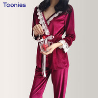 Autumn Winter Sexy Women Pyjamas Sets Thick Warm Velvet Suit Flannel Long Sleeve Female Lace Patchwork