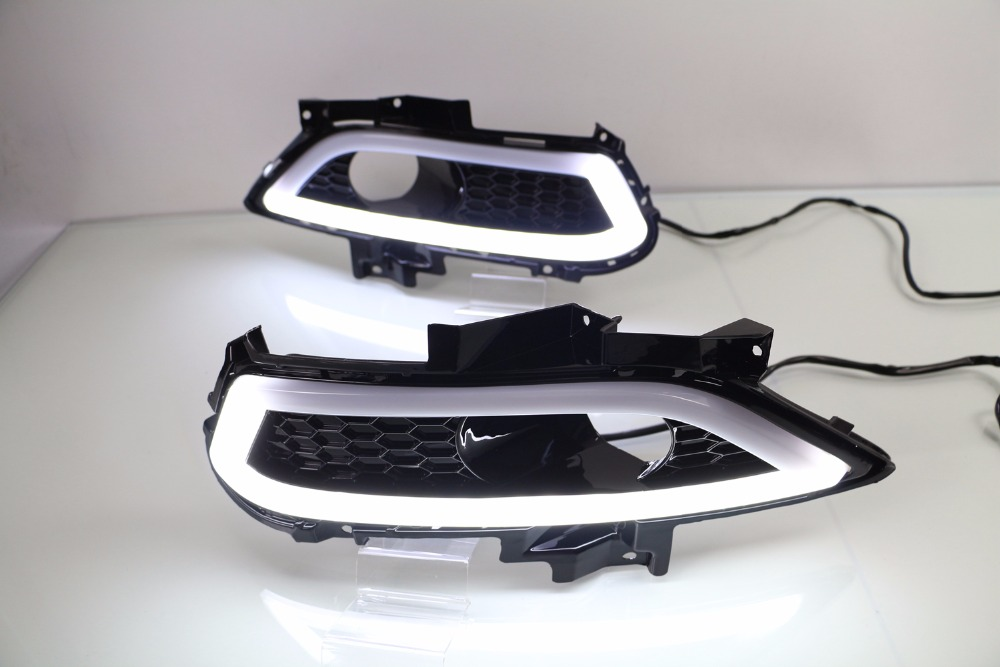 Osmrk led drl daytime running light for Ford Mondeo Fusion 2013 2014 2015 2016, with dimmer function, yellow turn signal white ice blue led daytime running lights drl fog lamp cover with yellow turn light for ford fusion mondeo 2013 2014 2015 2016
