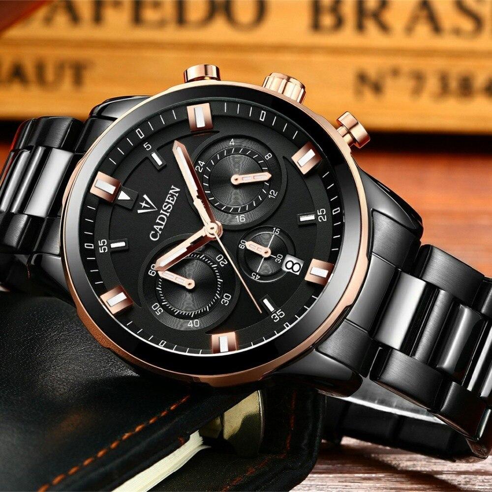 ad978537b0d CADISEN Moda Esporte Ocasional Relógios Homens Multifunções Negócios Quartz  Relógio de Pulso À Prova D  Água Relojes Relógio Homem Relógio Marca de 2018