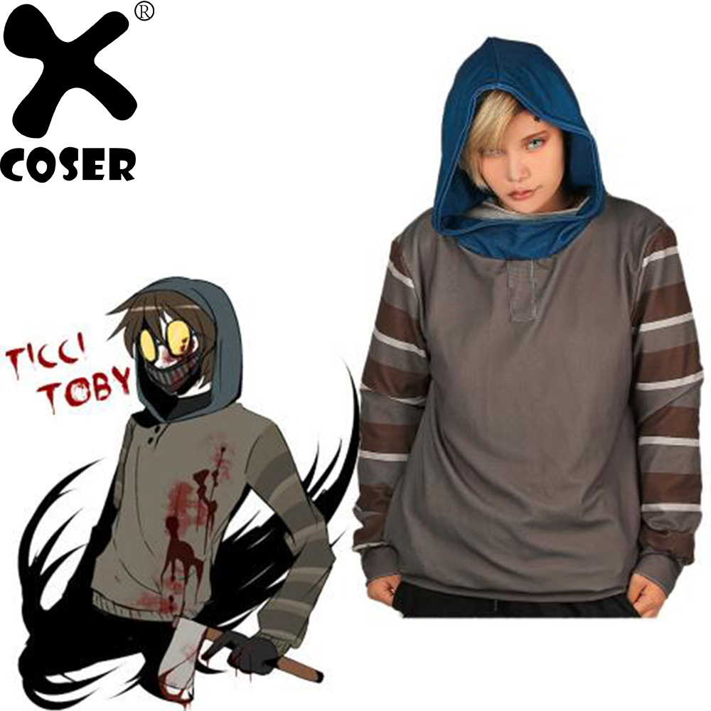 XCOSER Horror Creepypasta Ticci Toby Hoodies Tops Gray Hoody Pullover Hooded Sweatshirts Cosplay Costume For Unisex Adult