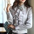 Freeship branco/preto/prata/rosa das senhoras das mulheres floral ruffle lolita blousers gola camisa medieval blusas & camisas flare