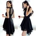 A851 Корея дамы летом 2016 нерегулярные рукавов Шифона Платье холтер платье товары ласточкин хвост