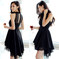 A851 Korea ladies summer 2016 irregular sleeveless Chiffon Dress halter dress goods dovetail