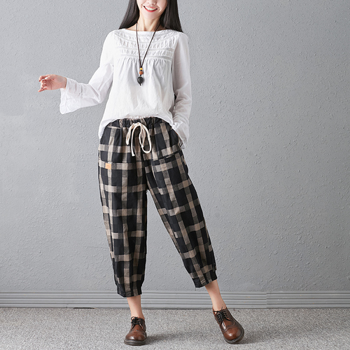 New 2018 Spring And Autumn Artistic Vintage Trousers Women Harlan Pants Woman Pants Loose Linen Pants For Women Plus Size Women 4
