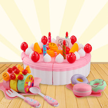 2019 hot sale 53PC Cutting Fruit Cake Pretend Play Children Kid Educational Christmas Gift  Children Play house toys set