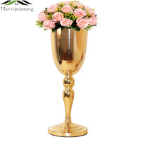 10PCS/LOT Gold Tabletop Vases Metal Flower Vase Table Centerpiece For Mariage Flowers Holders For Wedding Home Decoration 01102