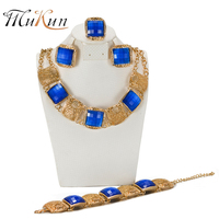 SHILU 2017 New Style Amazing Blue Crystal Jewelry Set High Quality Gold Plated Flower Jewellery African