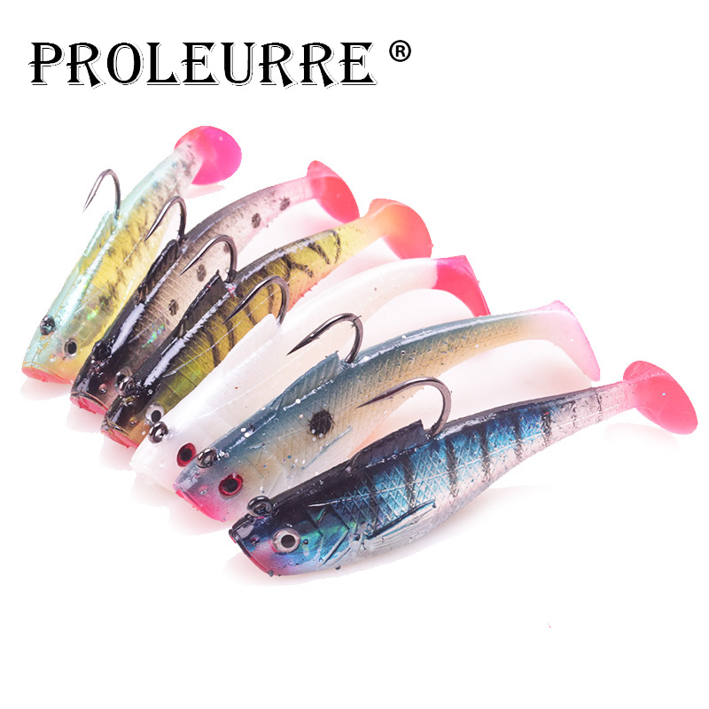 High quality 5pcs/3pcs Jig Head Soft Fishing Lure T Tail Grub Artificial Belly 5cm 8cm Chest Open Swimbait Silicone Bait PR-601