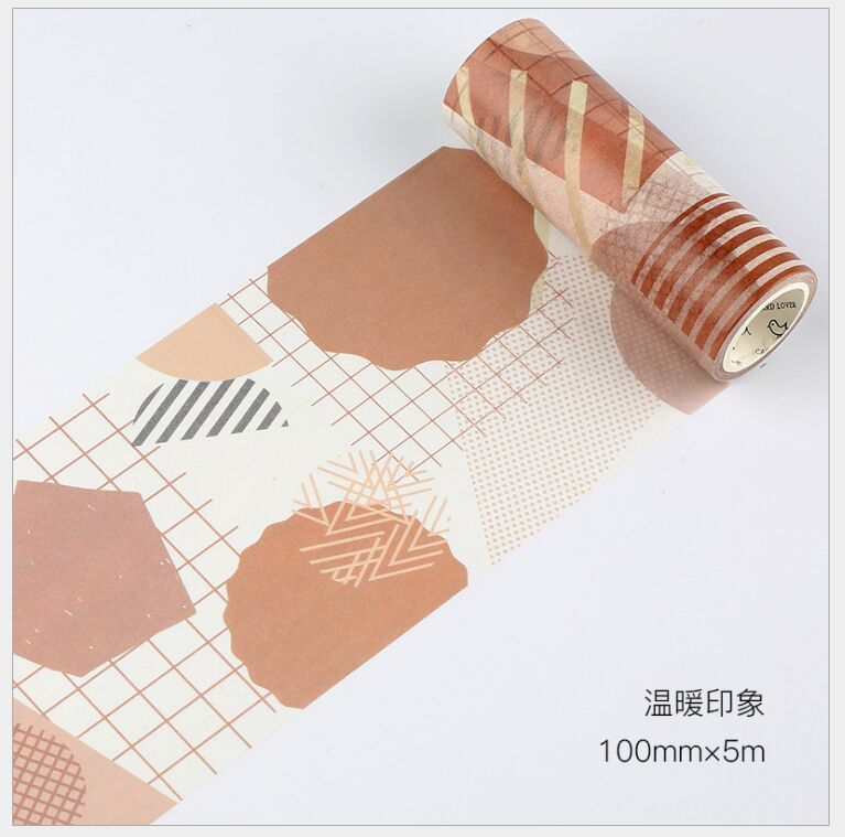 10cm Vintage Brown Warm Impression Grid Dots Collage Decoration Washi Tape DIY Planner Diary Scrapbooking Masking Tape Escolar
