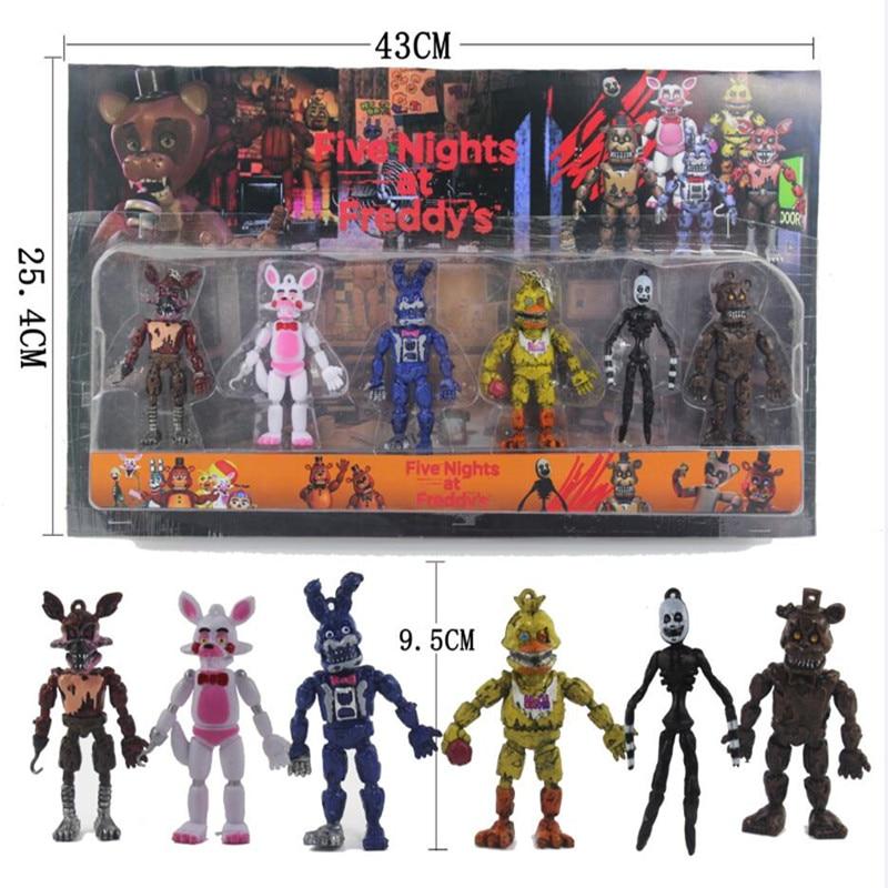 6 Pcs/set  Five Nights At Freddy's Action Figure Toy FNAF Bonnie Foxy Freddy Fazbear Bear Freddy Toys For Children Gift