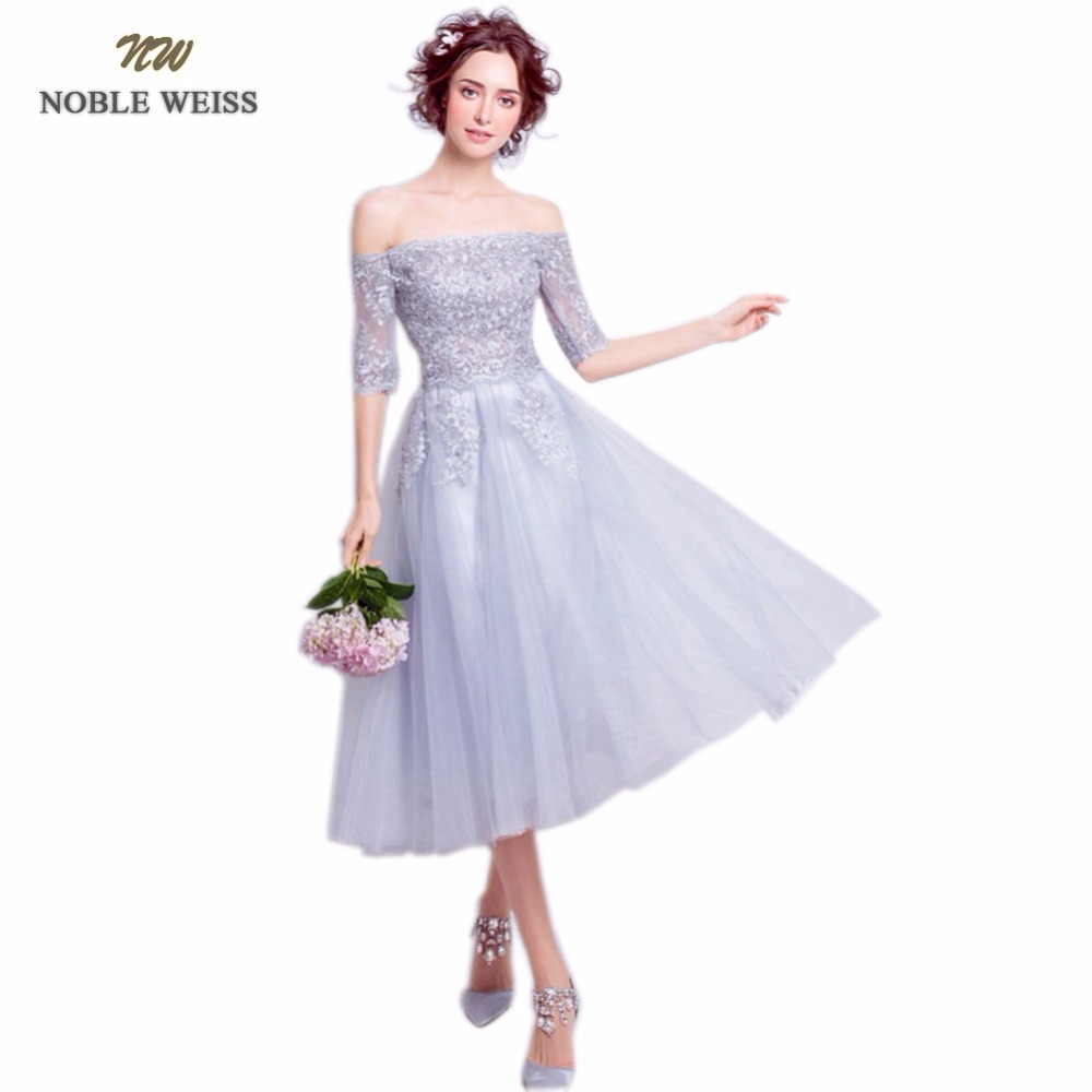 NOBLE WEISS Gray Lace Prom Dress With Half Sleeves 2018 Customized Fashion Boat Neck Appliques Tulle Party Gown Dresses