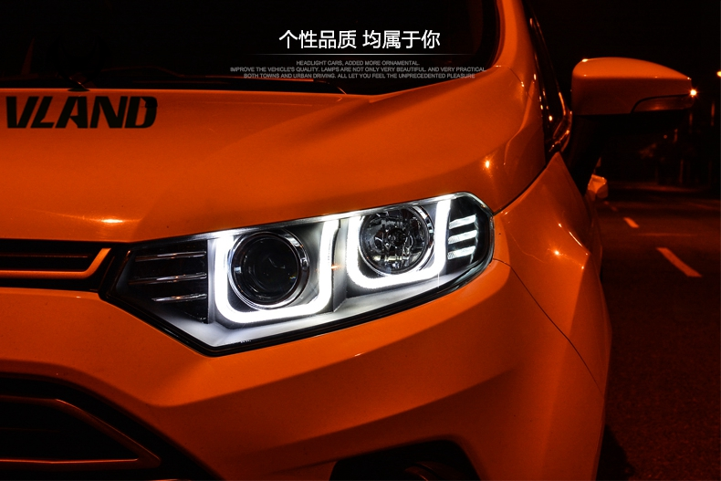 VLAND manufacturer for Car head lamp for Ecosport Ecospor LED Headlight with xenon HID projector lens and Day plug and play xl 2200u manufacturer tv projector lamp