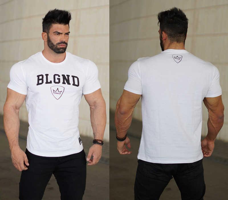 55b0f035 ... BLGND Summer new Men Fitness Tshirt Bodybuilding Slim fit Shirts  Fashion Leisure Male Short cotton Tee