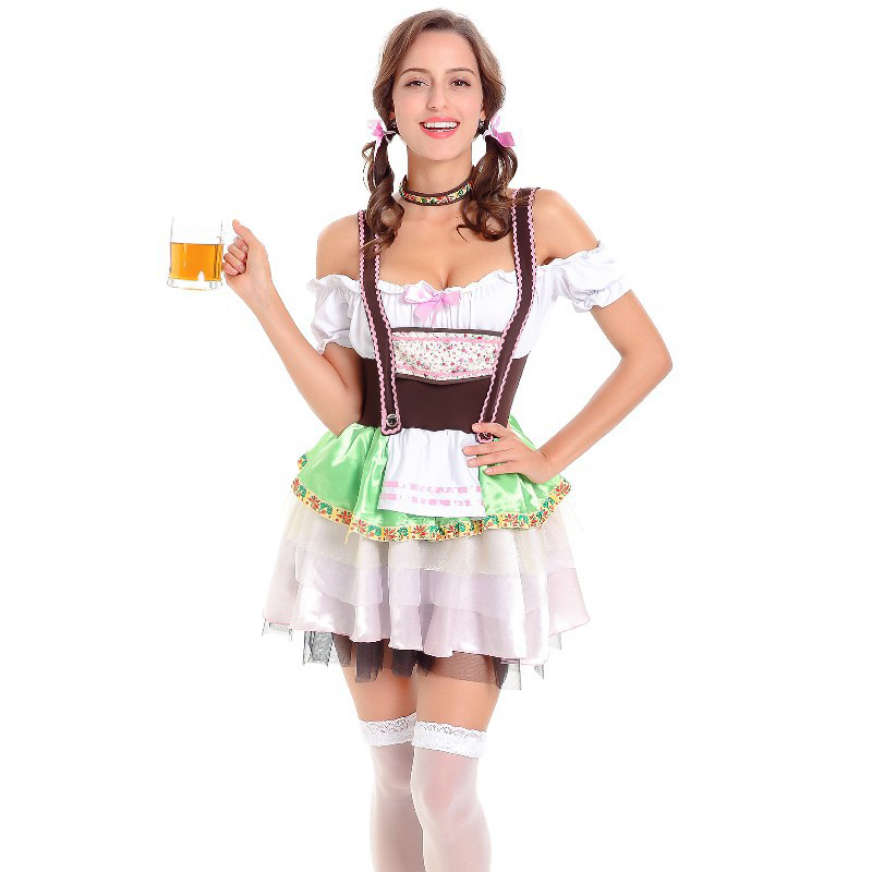 Adult Oktoberfest Zombie Costume Ladies Halloween Bavarian Maid Fancy Dress