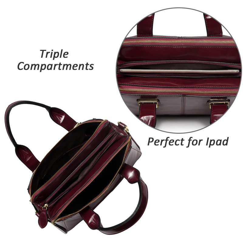 Image 3 - VASCHY Patent Leather Satchel Bag for Women Fashion Top Handle  Handbag Work Tote Purse with Triple Compartments BriefcaseTop-Handle  Bags