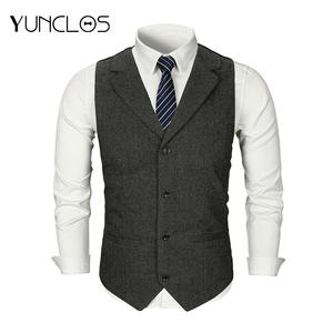 YUNCLOS Men Suit Vest Wedding Waistcoat Formal