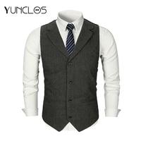 YUNCLOS Men Woolen Suit Vest Single Breasted Wedding Groom Slim Fit Elegant Gentlemen Vest Waistcoat Business Formal Vest