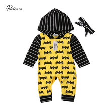 0-18M Newborn Toddler Infant Baby Boy Girl 2Pcs Batman Hoodie Pattern Tracksuit Romper Jumpsuit Headband Clothes Set(China)