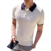 2019 summer social youth Slim short sleeved Paolo shirt trend men's youth hair stylist casual solid color shirt