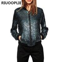RIUOOPLIE Women Fashion Bling Sequins Baseball Outerwear Casual Jacket Short Coat Blue