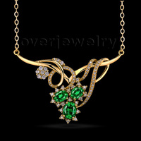 Queen Style NECKLACE WOMAN FASHION Emerald Necklace Angel With Natural Diamond 18Kt Yellow Gold WP052