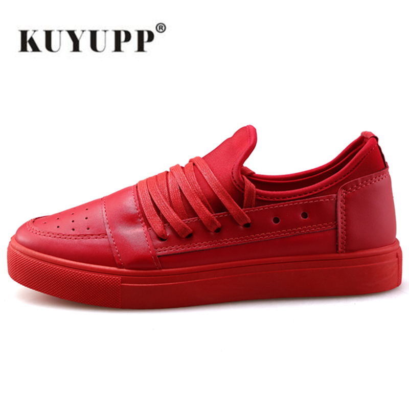 купить KUYUPP High Quality Leather Men Shoes Black White Comfortable Casual Shoes Zapatos Hombre 2017 Fashion Outdoor Shoes Y184 онлайн