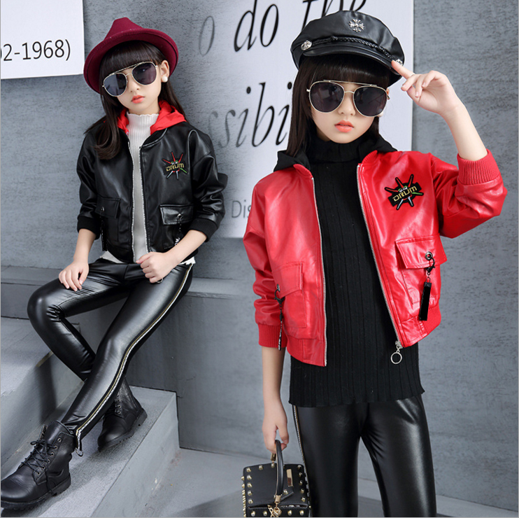 e3500b95e661 FTLZZ Teenage Girls Cool Motorcycle Pu Leather Jackets Coats Spring ...