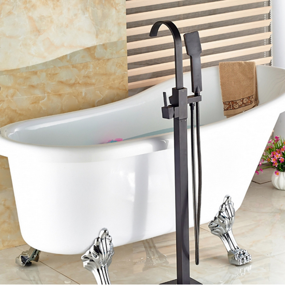 NEW Oil Rubbed Bronze Bathroom Tub Faucet Floor Mounted Tub Filler W ...