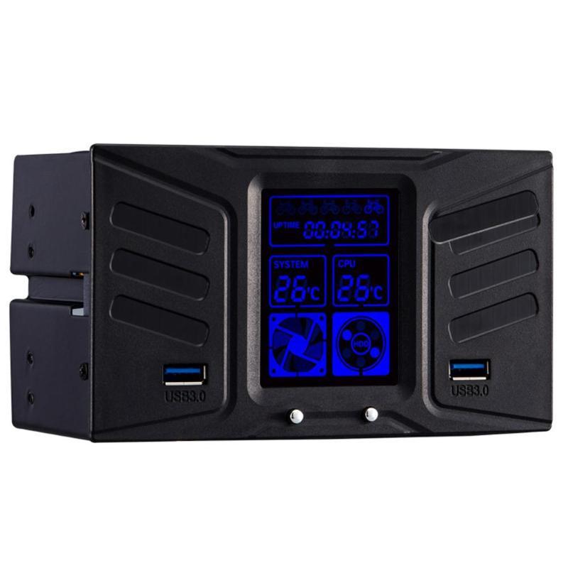 ALLOYSEED Dual 5,25 pulgadas unidad caso CD-ROM de la velocidad del ventilador de enfriamiento pantalla LCD controlador de temperatura con doble USB3.0