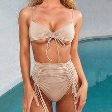цена Sexy Solid Bikini Set Women Swimwear 2019 New Strap Brazilian High Waist Bikini Beachwear Biquini Swimsuit Women Bathing Suit онлайн в 2017 году