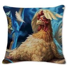 Colorful Chicken Art Pillow Case