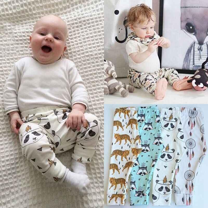 Kids Baby Boys Girls Animal Pattern Leggings Harem PP Pants Trousers 0-3Y